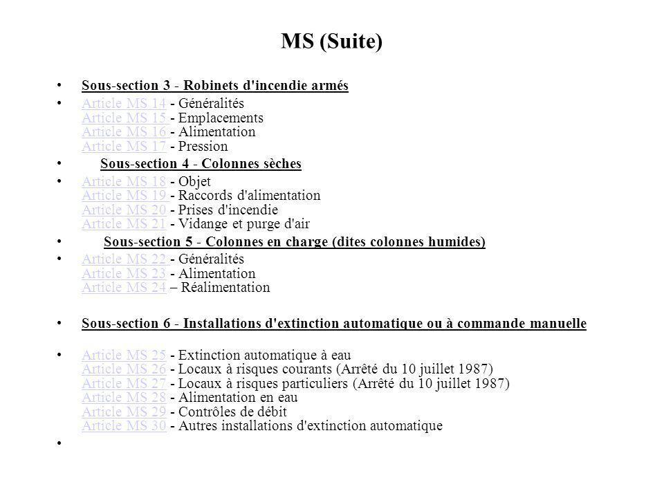 MS (Suite) Sous-section 3 - Robinets d incendie armés