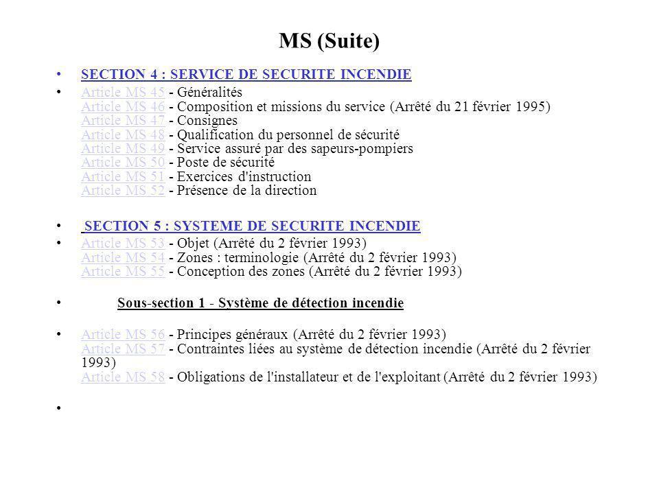MS (Suite) SECTION 4 : SERVICE DE SECURITE INCENDIE
