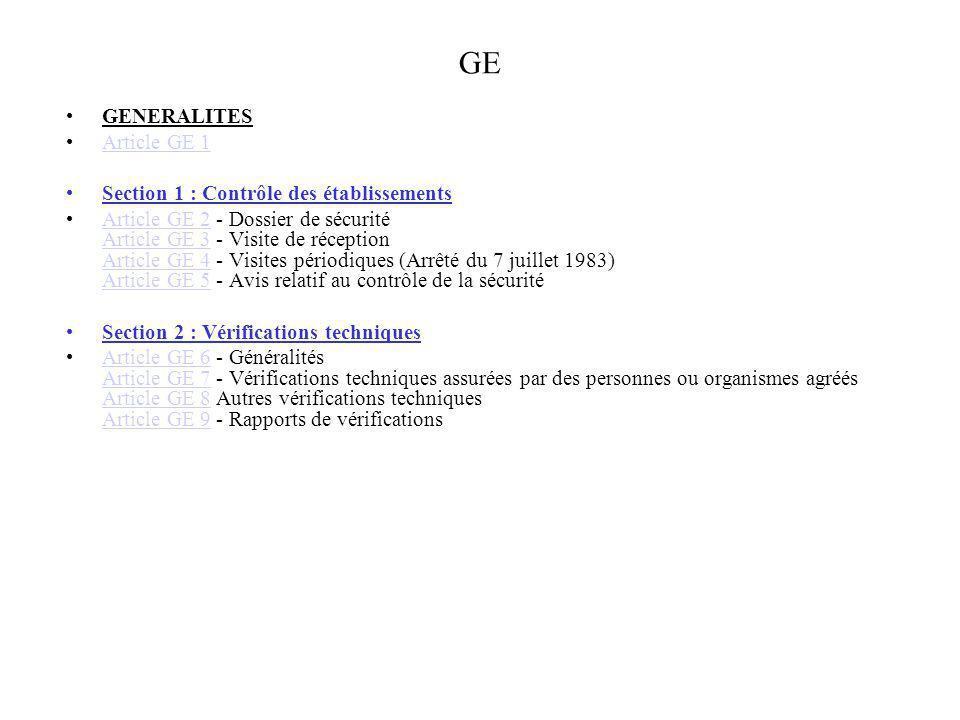 GE GENERALITES Article GE 1 Section 1 : Contrôle des établissements