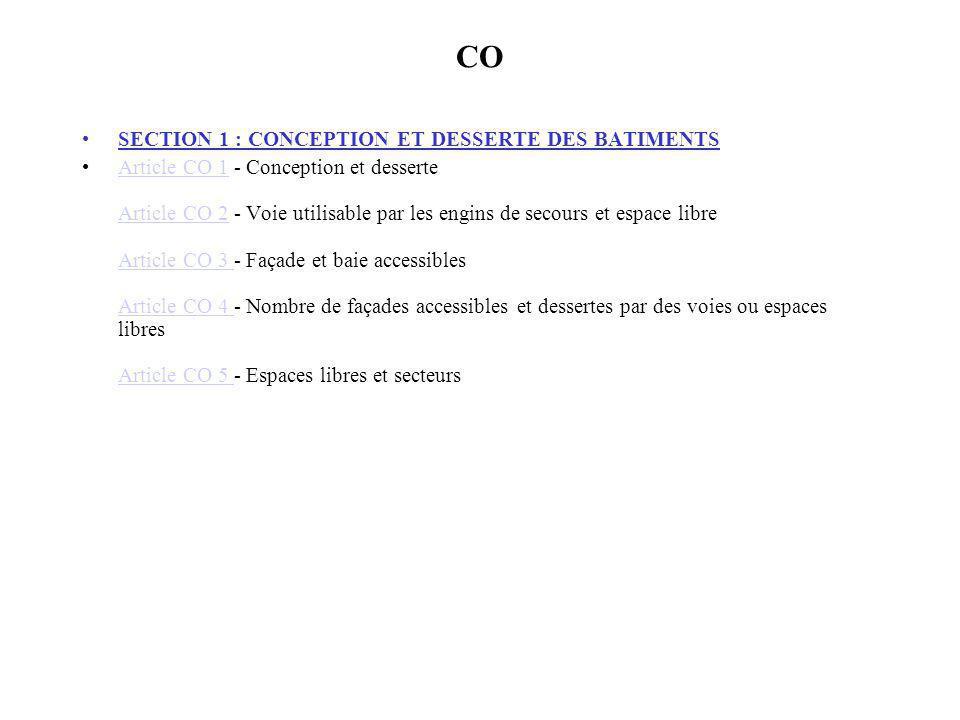 CO SECTION 1 : CONCEPTION ET DESSERTE DES BATIMENTS