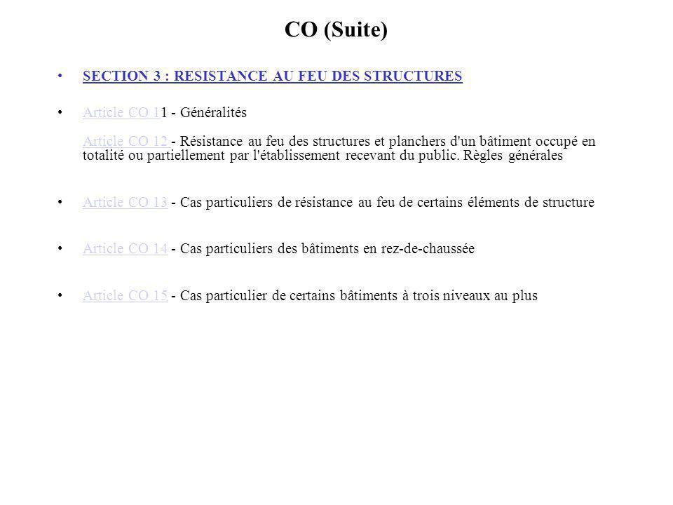 CO (Suite) SECTION 3 : RESISTANCE AU FEU DES STRUCTURES