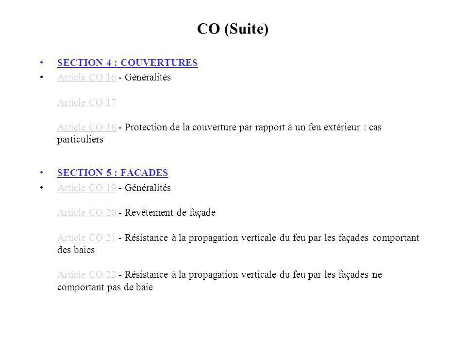 CO (Suite) SECTION 4 : COUVERTURES