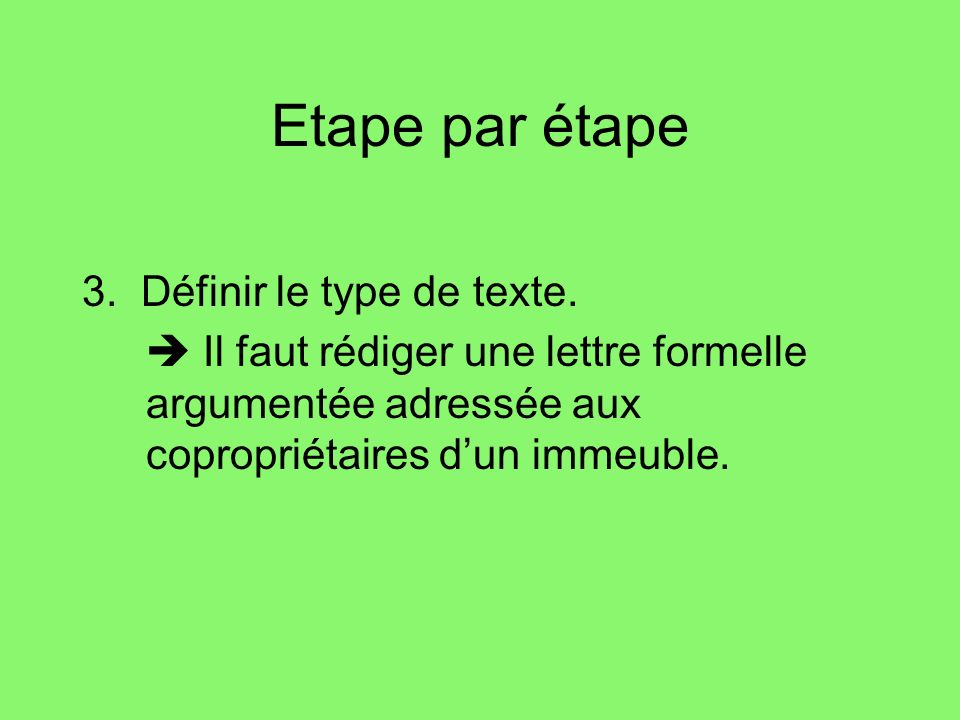 Etape par étape 3. Définir le type de texte.