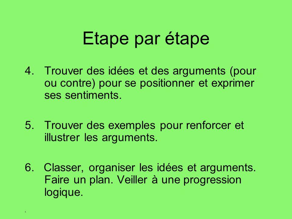 Etape par étape Trouver des idées et des arguments (pour ou contre) pour se positionner et exprimer ses sentiments.