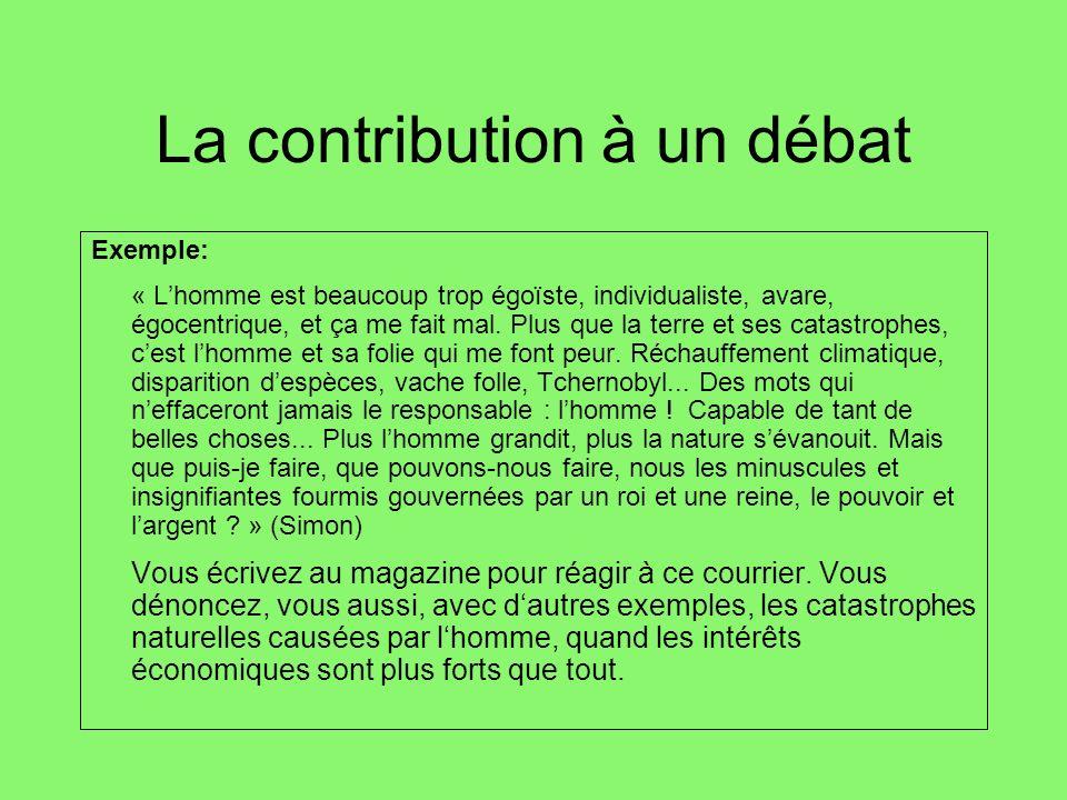 La contribution à un débat