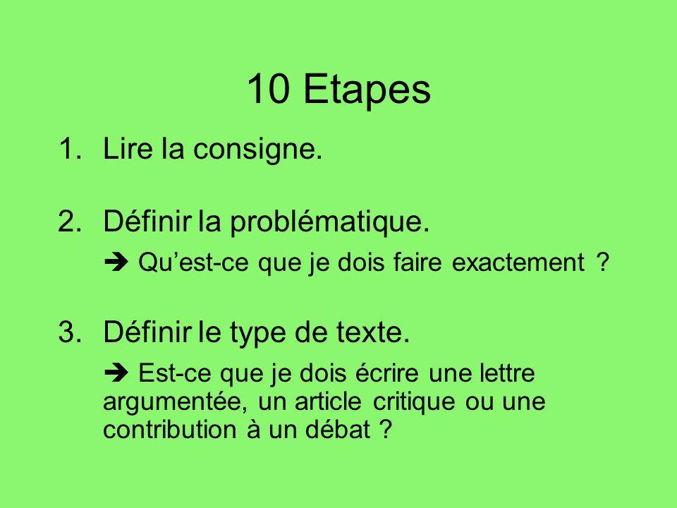 10 Etapes Lire la consigne.