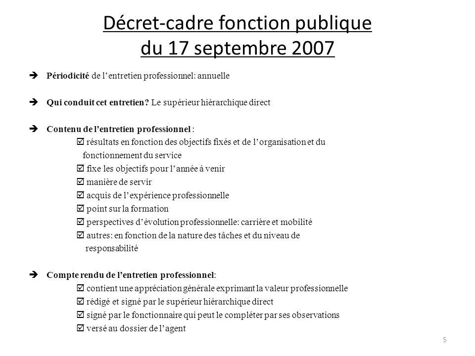 Décret-cadre fonction publique du 17 septembre 2007