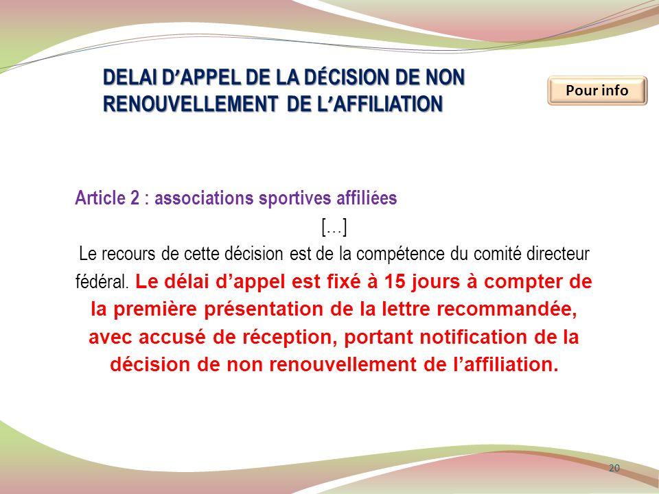 DELAI d'appel de la décision de non renouvellement de l'affiliation