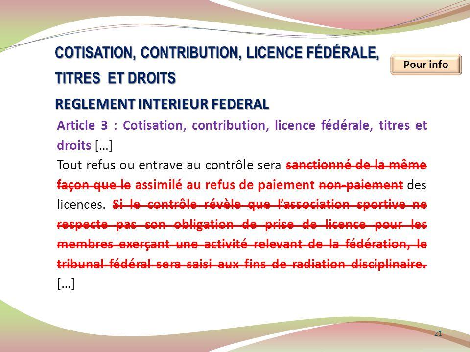 Cotisation, contribution, licence fédérale, titres et droits