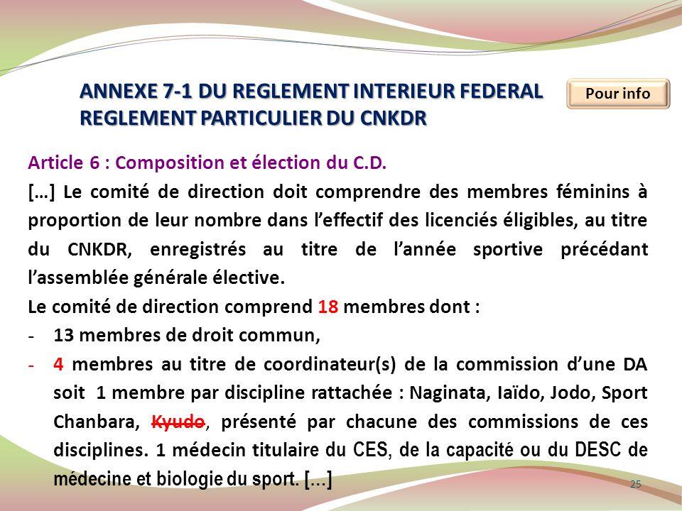 ANNEXE 7-1 DU REGLEMENT INTERIEUR FEDERAL
