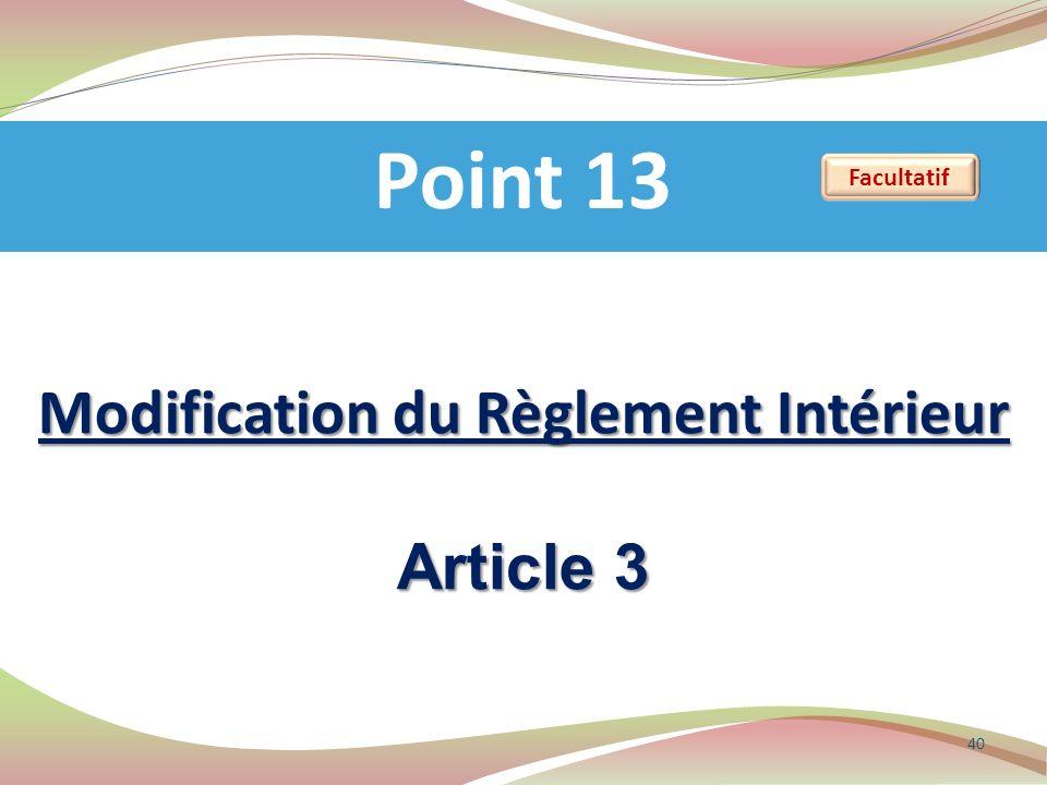 Modification du Règlement Intérieur