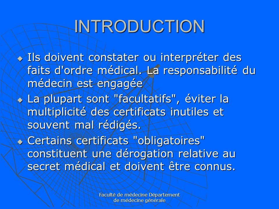 Faculté de médecine Département de médecine générale