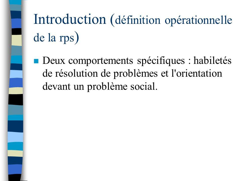 Introduction (définition opérationnelle de la rps)