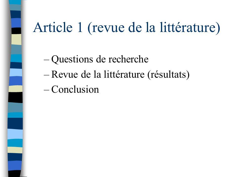 Article 1 (revue de la littérature)
