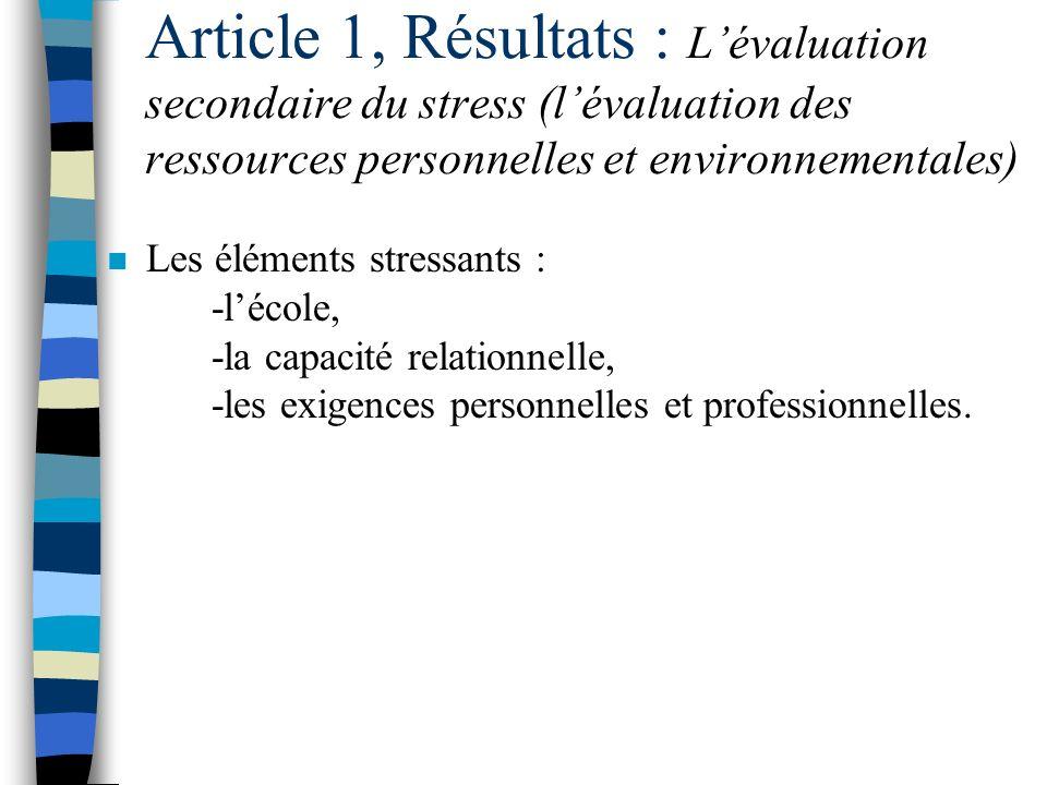 Article 1, Résultats : L'évaluation secondaire du stress (l'évaluation des ressources personnelles et environnementales)