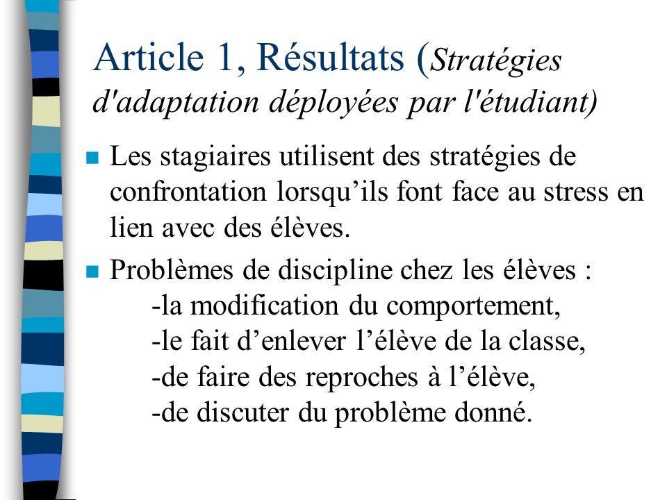 Article 1, Résultats (Stratégies d adaptation déployées par l étudiant)