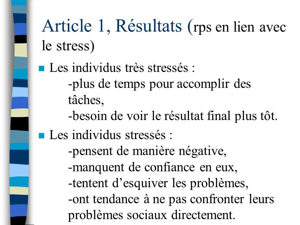 Article 1, Résultats (rps en lien avec le stress)