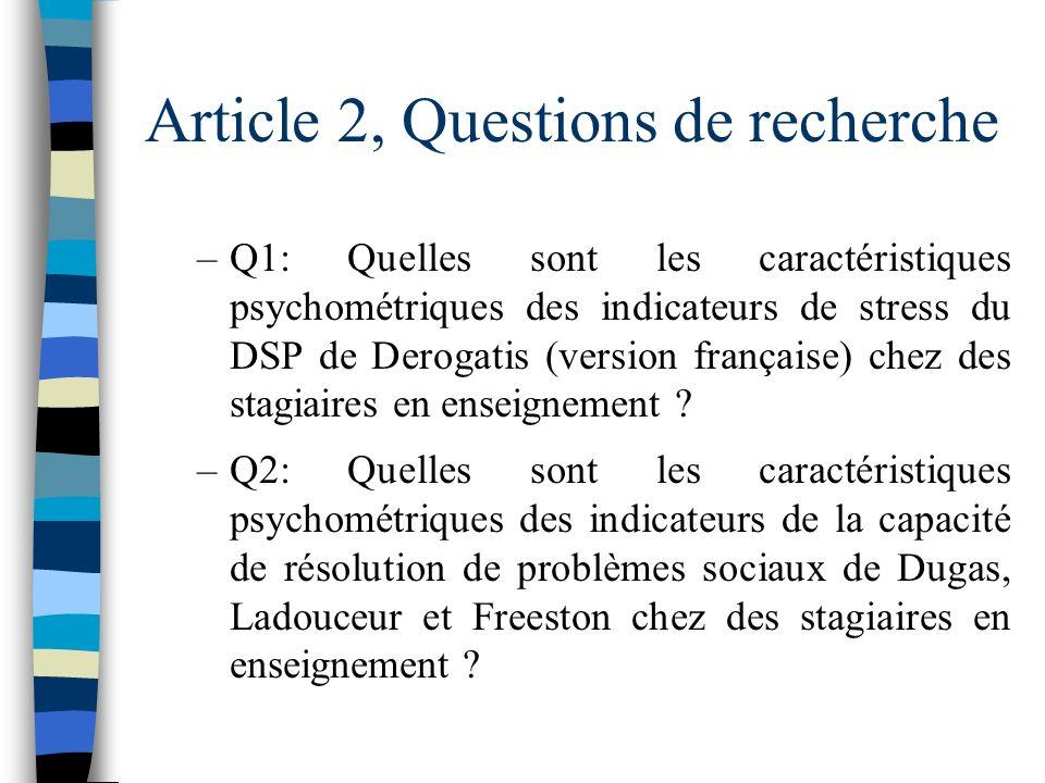 Article 2, Questions de recherche