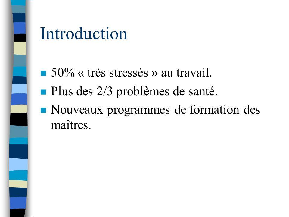 Introduction 50% « très stressés » au travail.