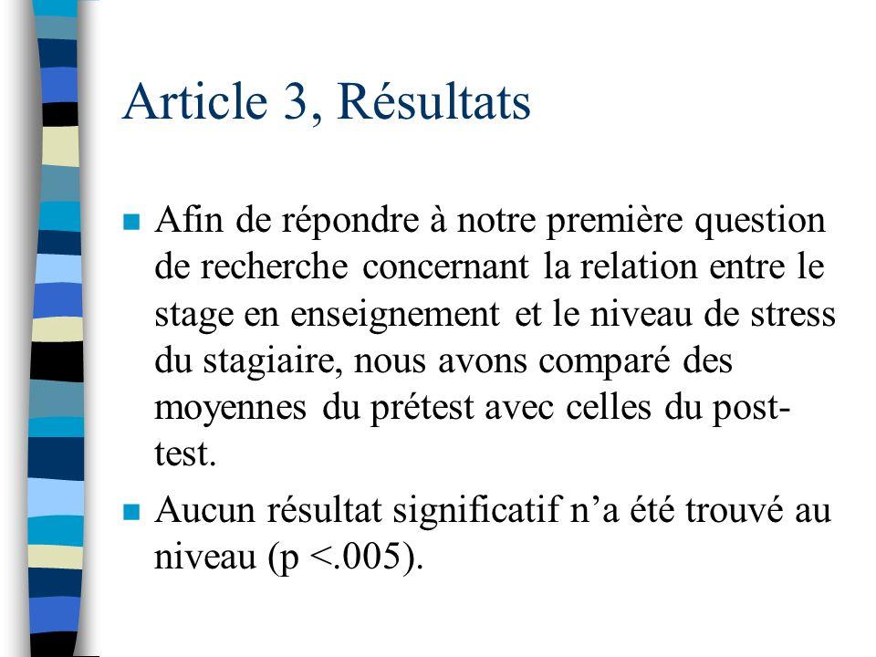Article 3, Résultats