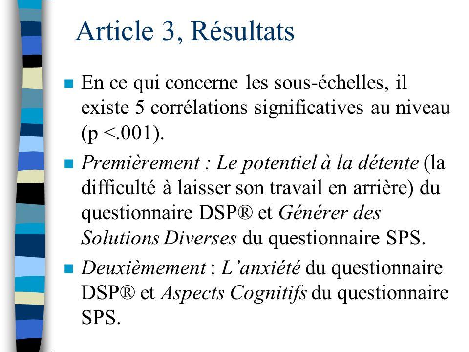 Article 3, Résultats En ce qui concerne les sous-échelles, il existe 5 corrélations significatives au niveau (p <.001).