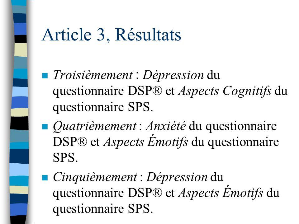 Article 3, Résultats Troisièmement : Dépression du questionnaire DSP® et Aspects Cognitifs du questionnaire SPS.