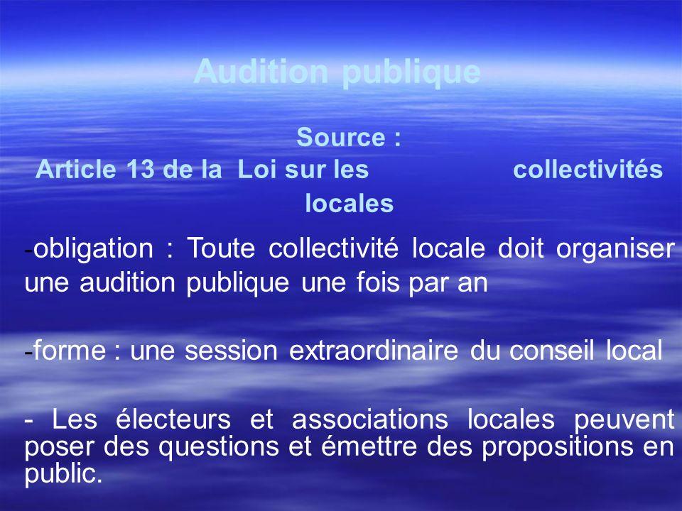 Article 13 de la Loi sur les collectivités locales