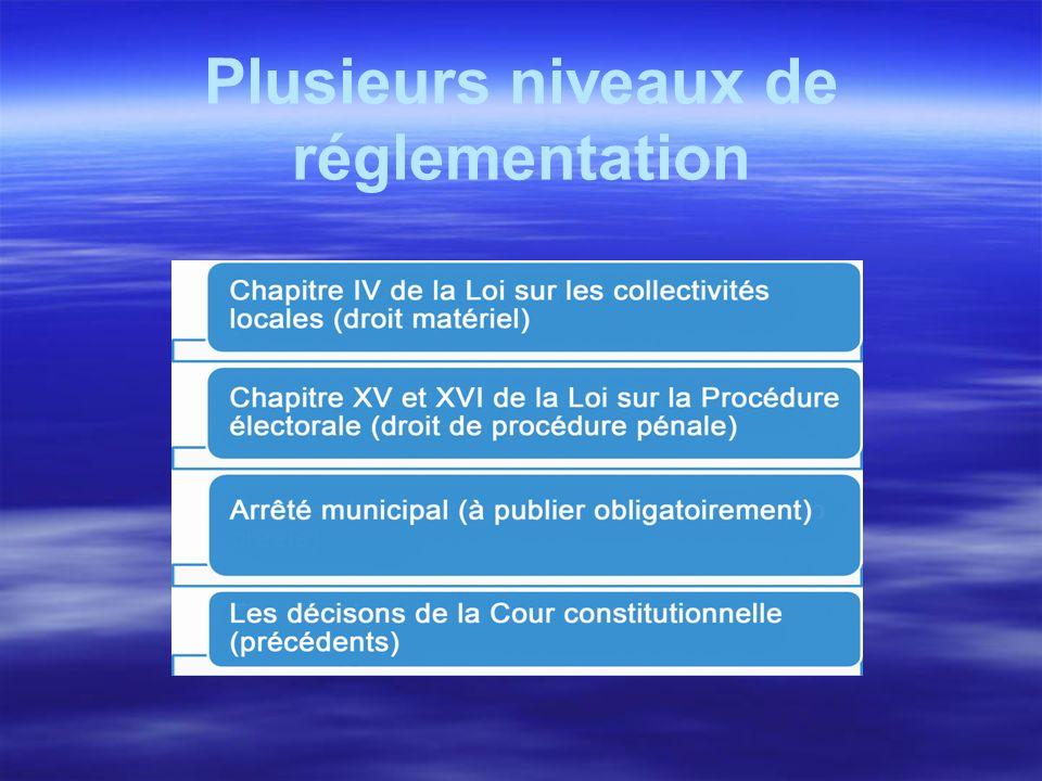 Plusieurs niveaux de réglementation