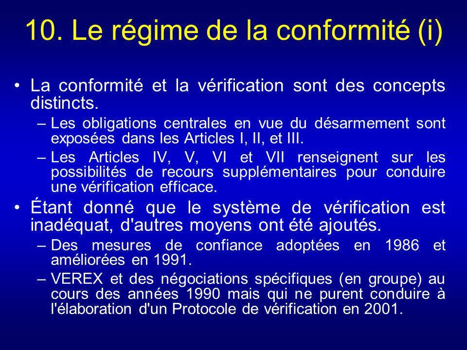 10. Le régime de la conformité (i)