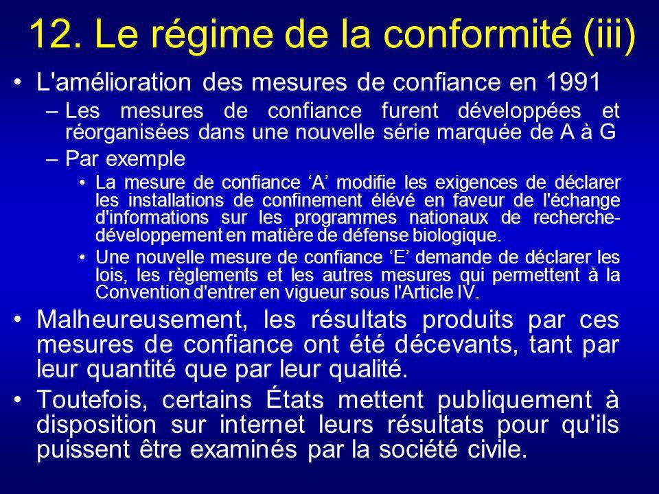 12. Le régime de la conformité (iii)