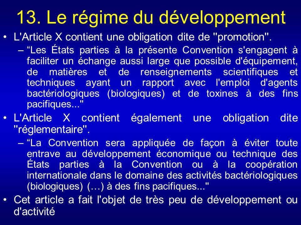 13. Le régime du développement