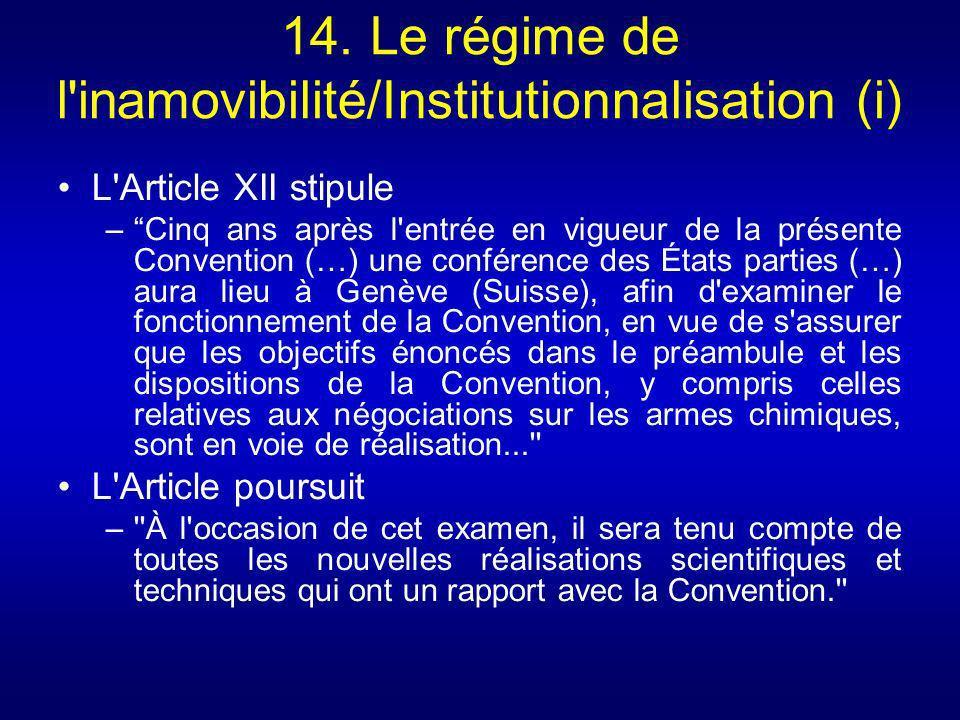 14. Le régime de l inamovibilité/Institutionnalisation (i)