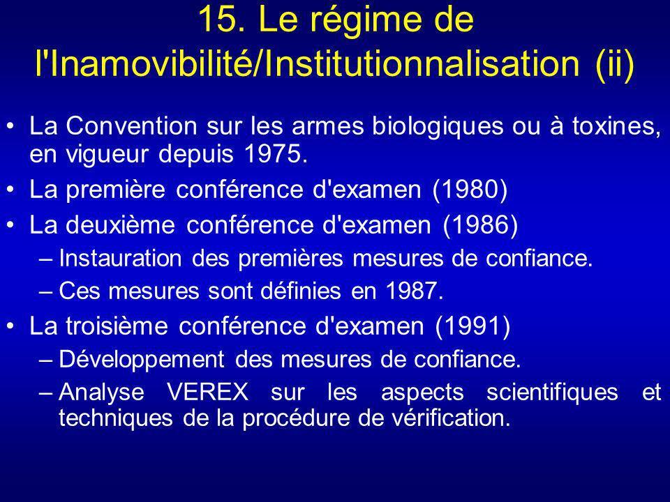 15. Le régime de l Inamovibilité/Institutionnalisation (ii)
