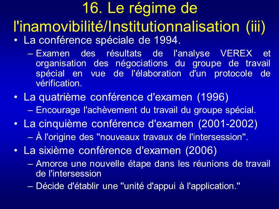 16. Le régime de l inamovibilité/Institutionnalisation (iii)