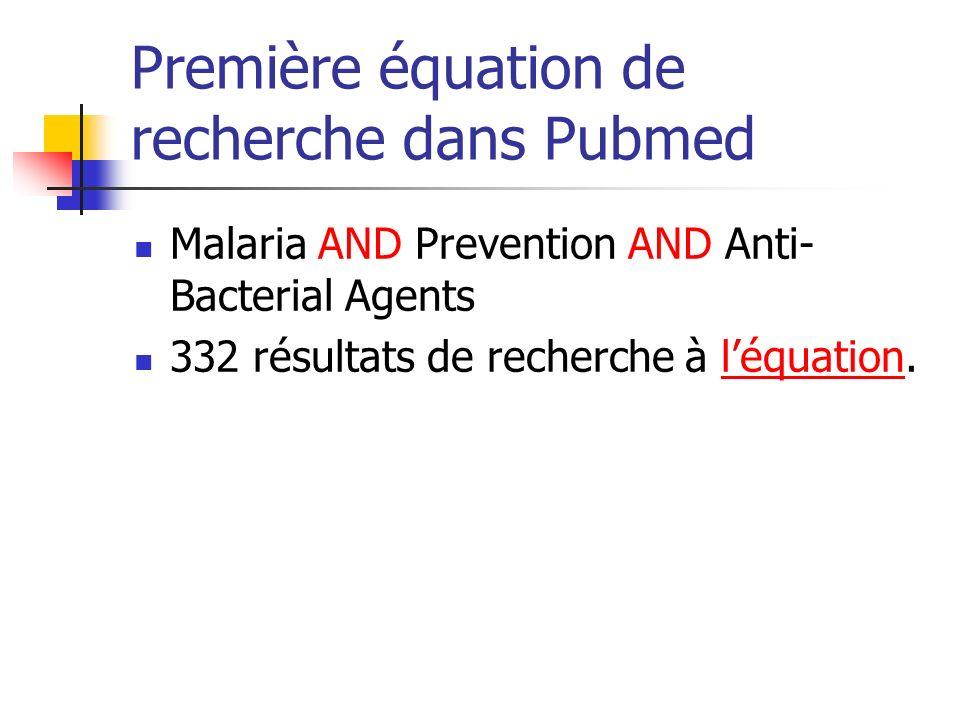 Première équation de recherche dans Pubmed