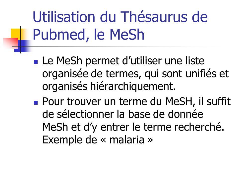 Utilisation du Thésaurus de Pubmed, le MeSh
