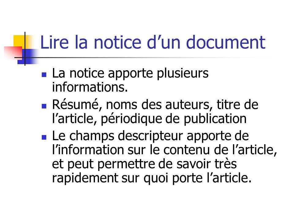 Lire la notice d'un document