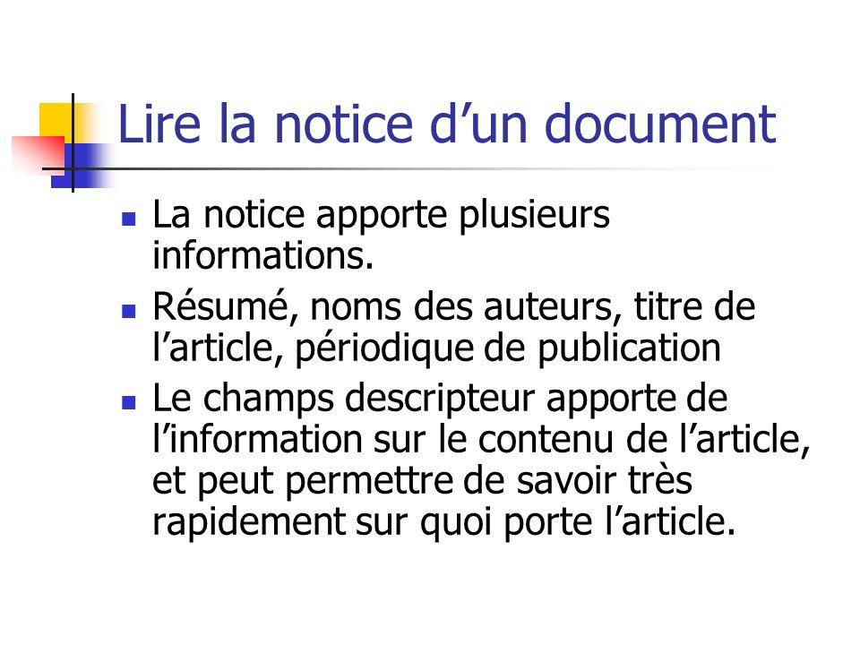 Lire la notice d'un document