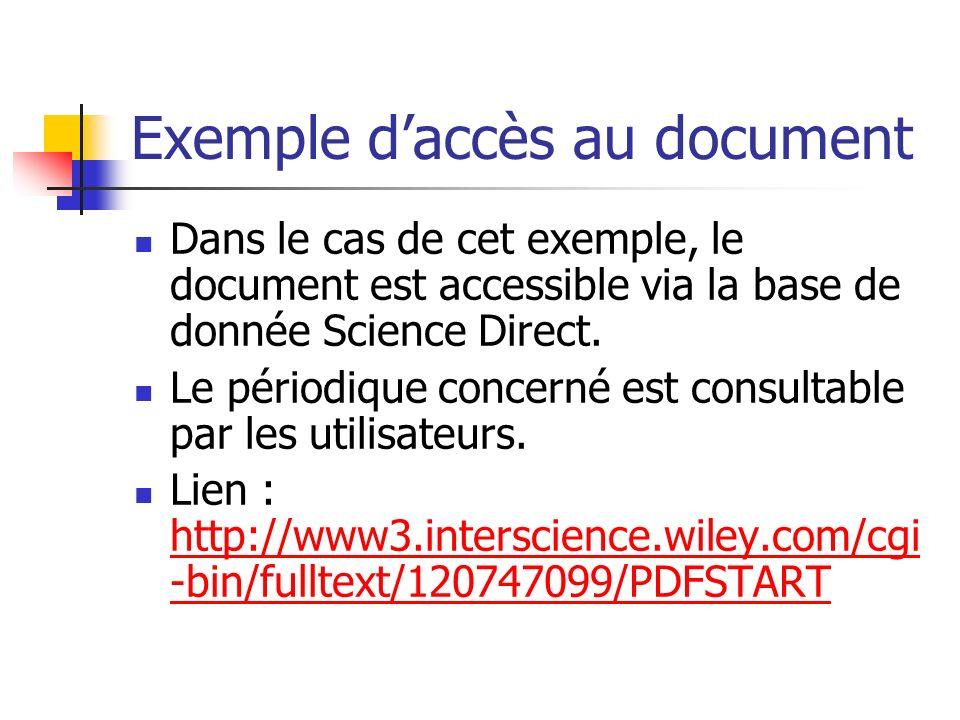 Exemple d'accès au document