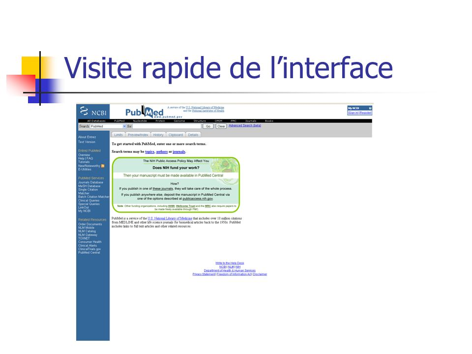 Visite rapide de l'interface