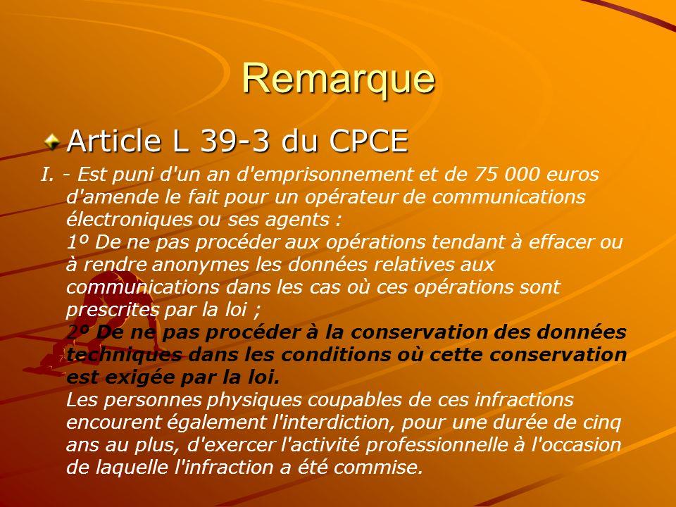 Remarque Article L 39-3 du CPCE