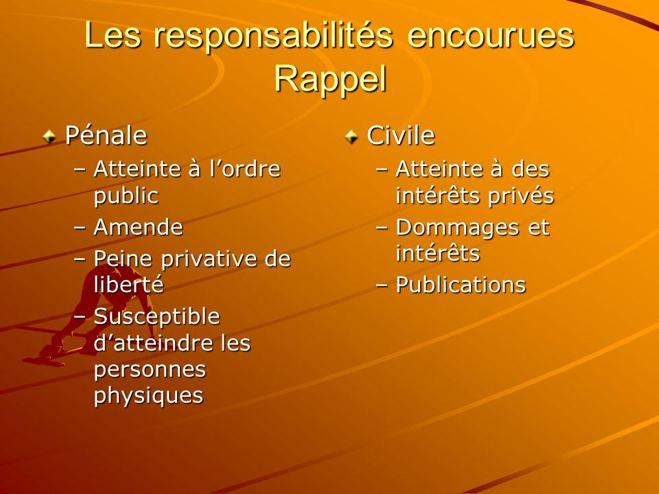 Les responsabilités encourues Rappel
