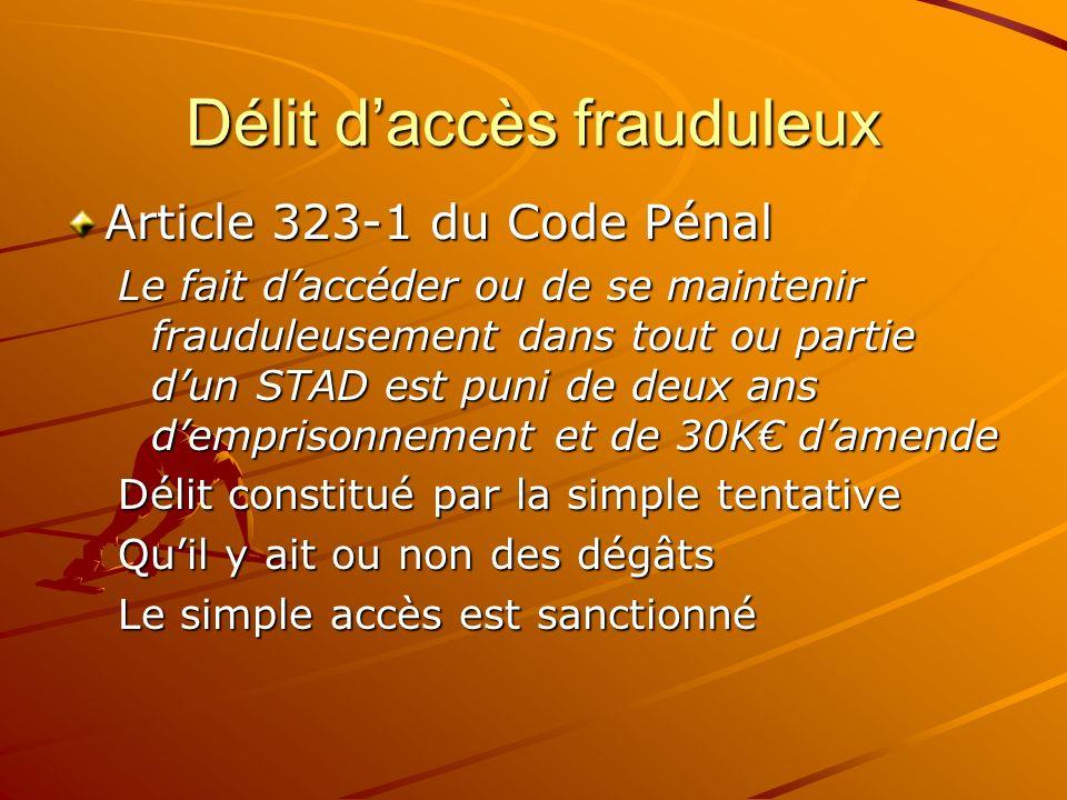 Délit d'accès frauduleux
