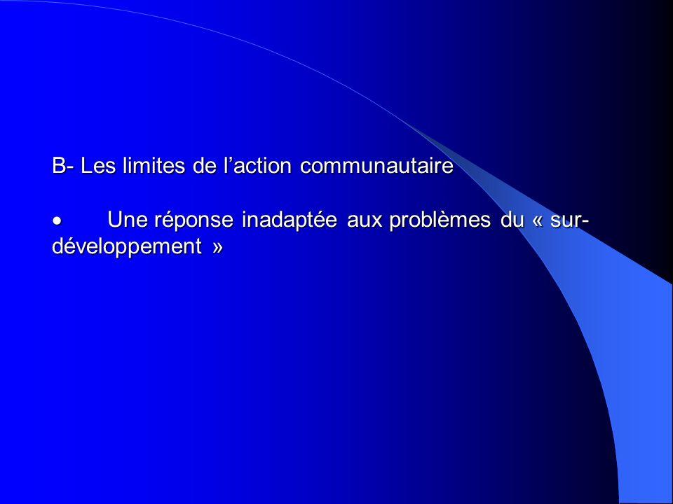 B- Les limites de l'action communautaire · Une réponse inadaptée aux problèmes du « sur-développement »