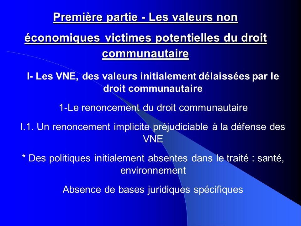 Première partie - Les valeurs non économiques victimes potentielles du droit communautaire