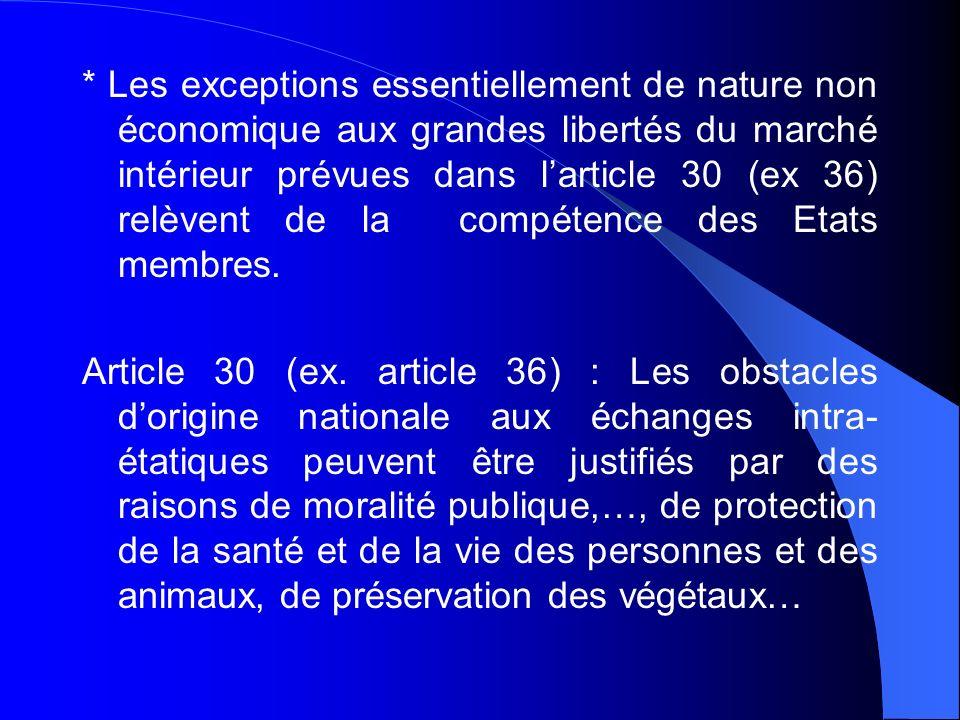 * Les exceptions essentiellement de nature non économique aux grandes libertés du marché intérieur prévues dans l'article 30 (ex 36) relèvent de la compétence des Etats membres.