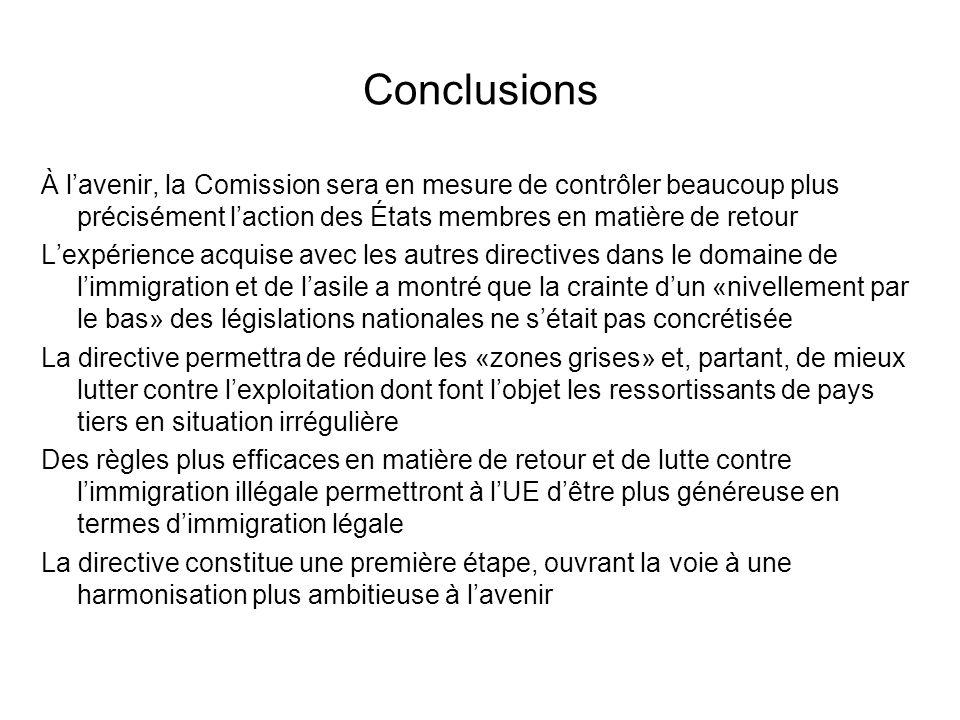 Conclusions À l'avenir, la Comission sera en mesure de contrôler beaucoup plus précisément l'action des États membres en matière de retour.