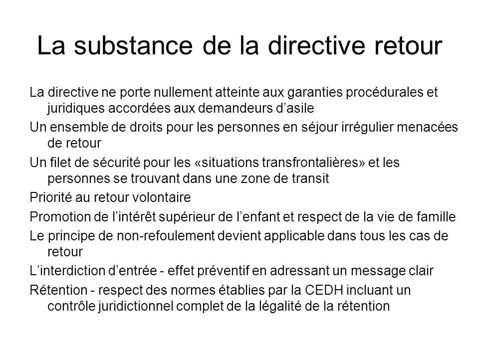 La substance de la directive retour