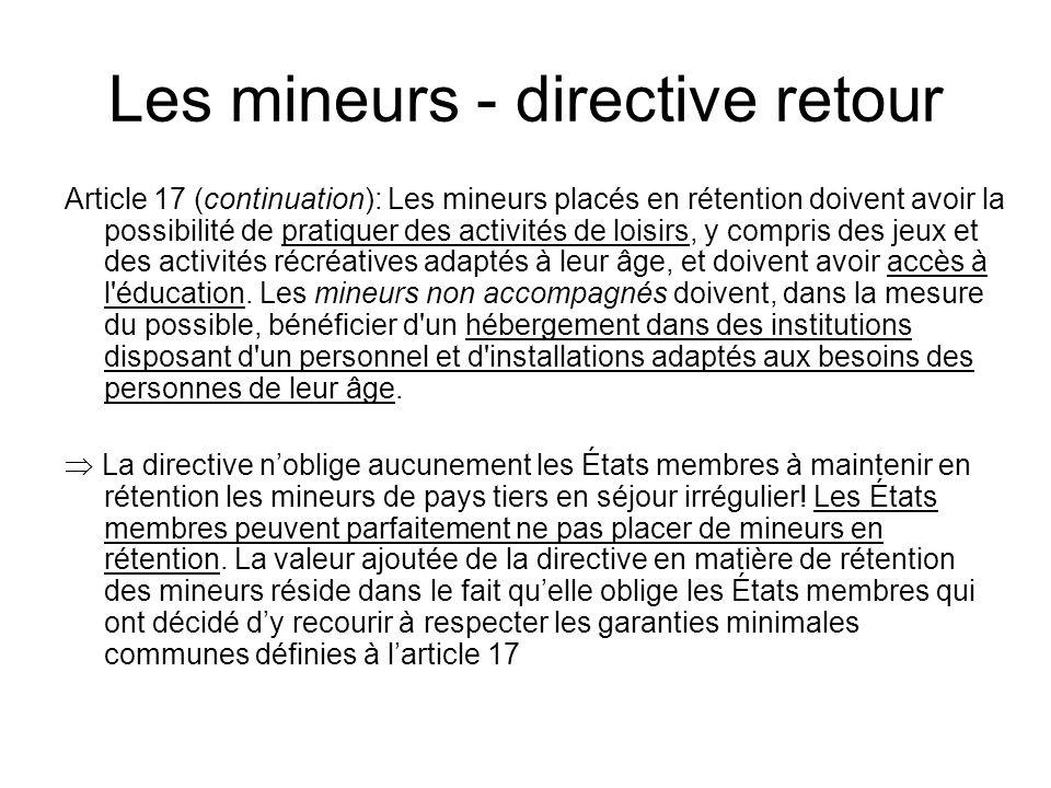 Les mineurs - directive retour