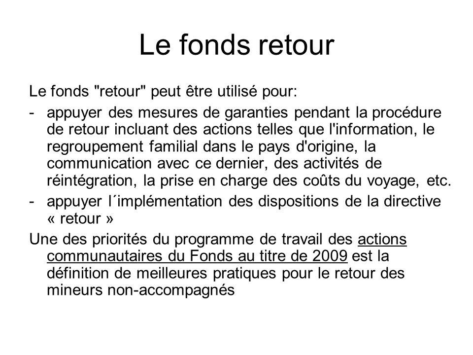 Le fonds retour Le fonds retour peut être utilisé pour: